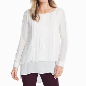 Double layer lace pleated tunic top